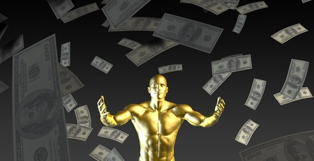 thrilled: Happy Businessman Under a Rain of Cash and Money
