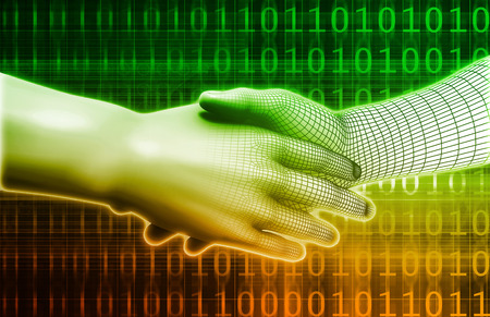 between: Digital Handshake Between Man and Machine Technology Stock Photo