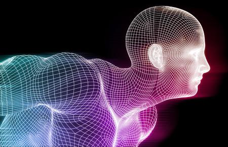 Intelligence Artificielle Concept avec Grillage Grille