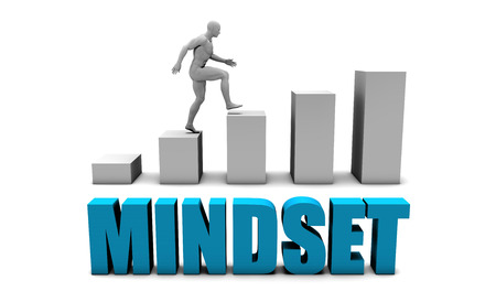 mindset: Mindset 3D Concept  in Blue with Bar Chart Graph