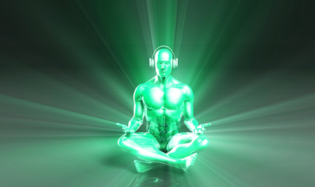 listening: Man Listening to Music Meditating in Earphones 3d