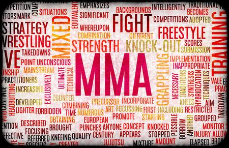 artes marciales mixtas: Las artes marciales mixtas o MMA como un fondo de concepto de Grunge