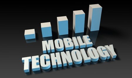 mobile technology: Mobile technology graph chart in 3d on blue and black Stock Photo