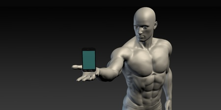 showcase: Man Showing a Hovering Smartphone to Showcase Technology Stock Photo
