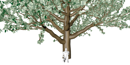 blessing: Man Sitting Underneath a Money Tree as Business Concept