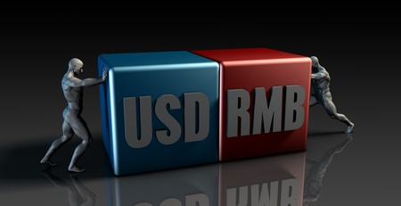 rmb: USD RMB Currency Pair or American Dollar vs China Renminbi Stock Photo