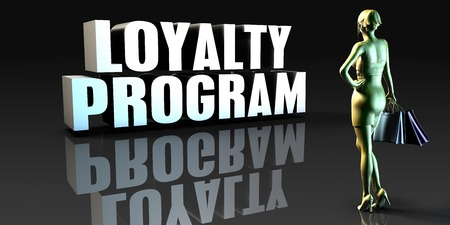 program: Loyalty Program as a Concept with Lady Holding Shopping Bags