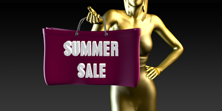 lady shopping: Summer Sale with a Lady Holding Shopping Bags Stock Photo