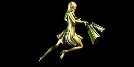 shopper: Woman Shopper Running for a Sales Event Stock Photo
