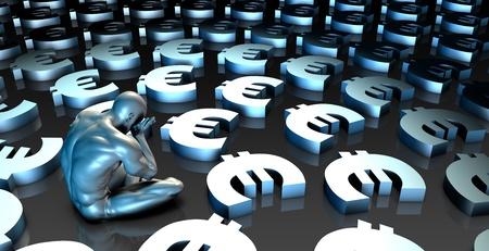 woe: Weak Euro Currency or Weakening Finances and Man Crying Stock Photo