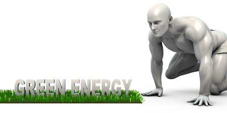 verify: Green Energy Concept with Man Looking Closely to Verify Stock Photo