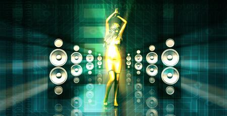 nightclub party: Disco Lady Dancing in a Nightclub as Concept