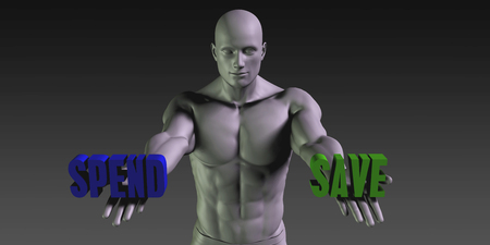 spend: Spend vs Save Concept of Choosing Between the Two Choices