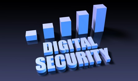 digital security: Digital security graph chart in 3d on blue and black Stock Photo