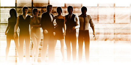 business team: Business Team Standing with Leader in Front as a Concept Stock Photo
