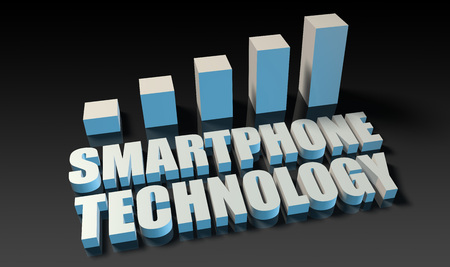 experienced: Smartphone technology graph chart in 3d on blue and black Stock Photo
