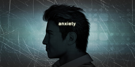 experiencing: Man Experiencing Anxiety as a Personal Challenge Concept Stock Photo