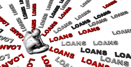 loans: Suffering From Loans with a Victim Crying Male Stock Photo