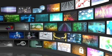 Television Production Technology Concept met Video Wall Stockfoto - 48426966