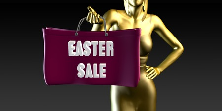 lady shopping: Easter Sale with a Lady Holding Shopping Bags