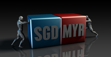 the weakening: SGD MYR Currency Pair or Singapore Dollar vs Malaysia Rinngit Stock Photo