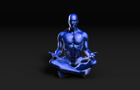 inner peace: Illustration of a Male Figure Meditating in 3d