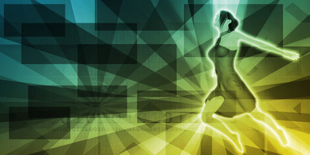 sunray: Background with Dancing Girl on Sunray Pattern Abstract Stock Photo