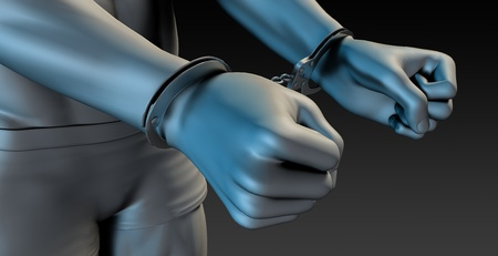 jailed: Man in Handcuffs with Close Up from Behind Stock Photo