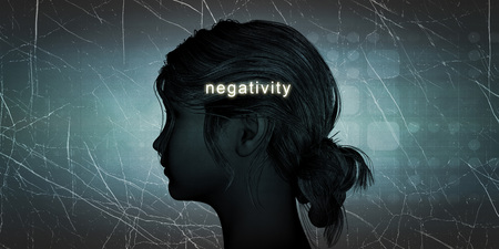 thoughts: Woman Facing Negativity as a Personal Challenge Concept