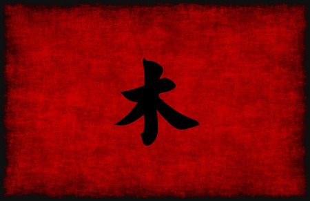 chinese symbol: Chinese Calligraphy Symbol for Wood Element in Red and Black