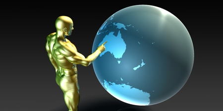 localization: Businessman Pointing at Australia or New Zealand Concept