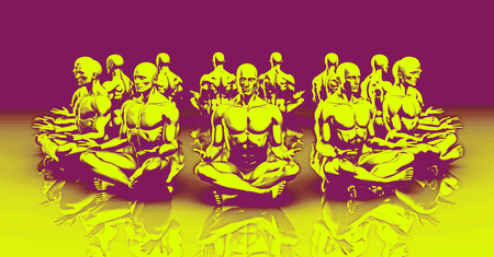 enlightenment: State of Enlightenment in a Yoga Class Stock Photo