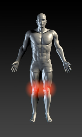 muscle injury: Knee Injury with Red Glow on Area Series
