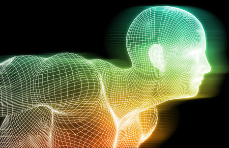AI: Human Wireframe and Digital Consciousness System Concept