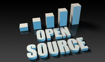 open source: Open source graph chart in 3d on blue and black Stock Photo
