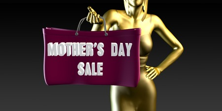 lady shopping: Mothers Day Sale with a Lady Holding Shopping Bags Stock Photo
