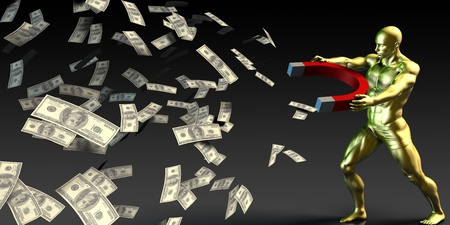 paper currency: Businessman Attracting and Pulling Money with a Magnet Stock Photo