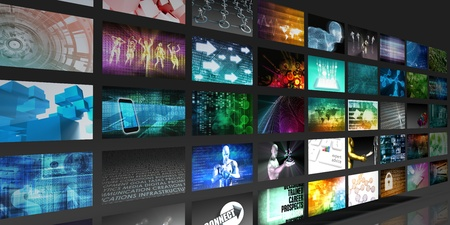 broadcasting: Video Screens Abstract Background for Multimedia Concept
