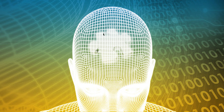enhanced healthy: Brain Processor of a Human Mind and Memory Concept