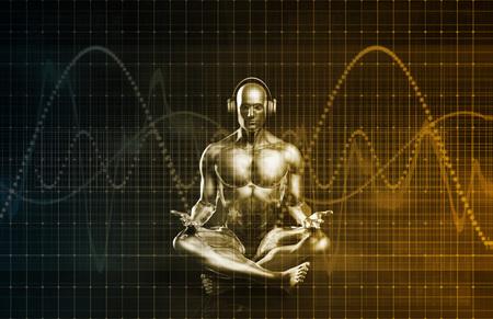 Immersieve muziekervaring en prestatie als concept Stockfoto