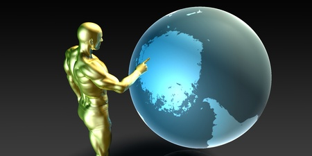 localization: Businessman Pointing at the Antarctica Arctic Continent