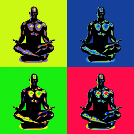 chakra awareness: State of Enlightenment in a Yoga Class Stock Photo