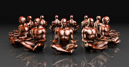 enhanced healthy: Man Sitting in the Lotus Position in Yoga as Art