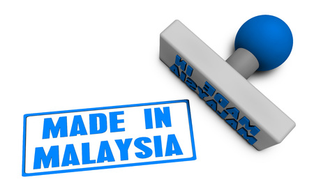 processed food: Made in Malaysia Stamp or Chop on Paper Concept in 3d Stock Photo