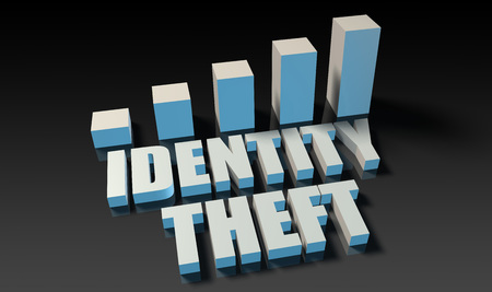 theft: Identity theft graph chart in 3d on blue and black Stock Photo