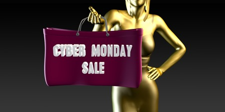 lady shopping: Cyber Monday Sale with a Lady Holding Shopping Bags