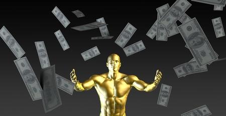 Happy Businessman Under a Rain of Cash and Money