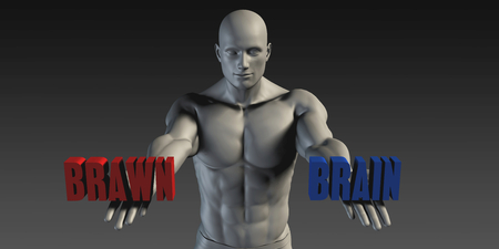 belief: Brain or Brawn as a Versus Choice of Different Belief Stock Photo