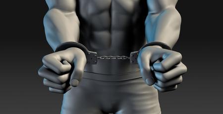 lockup: 3D Illustration of a Prisoner and Punishment concept Stock Photo
