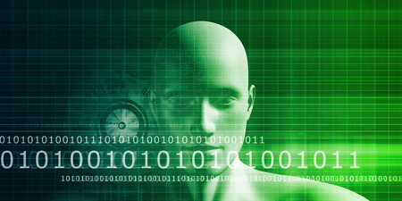 human intelligence: Mind Brain Code as Data Visualization Concept Art Stock Photo